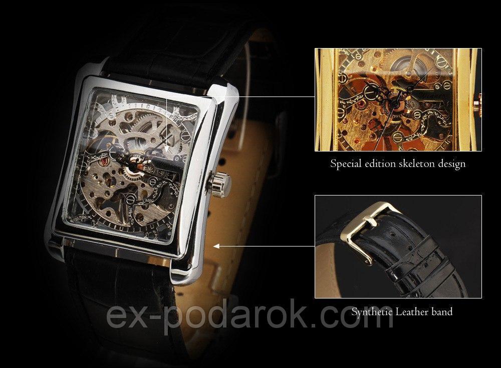 Годинник чоловічий наручні прямокутні механічні Winner Skeleton New Silver. 6c86d6562d263