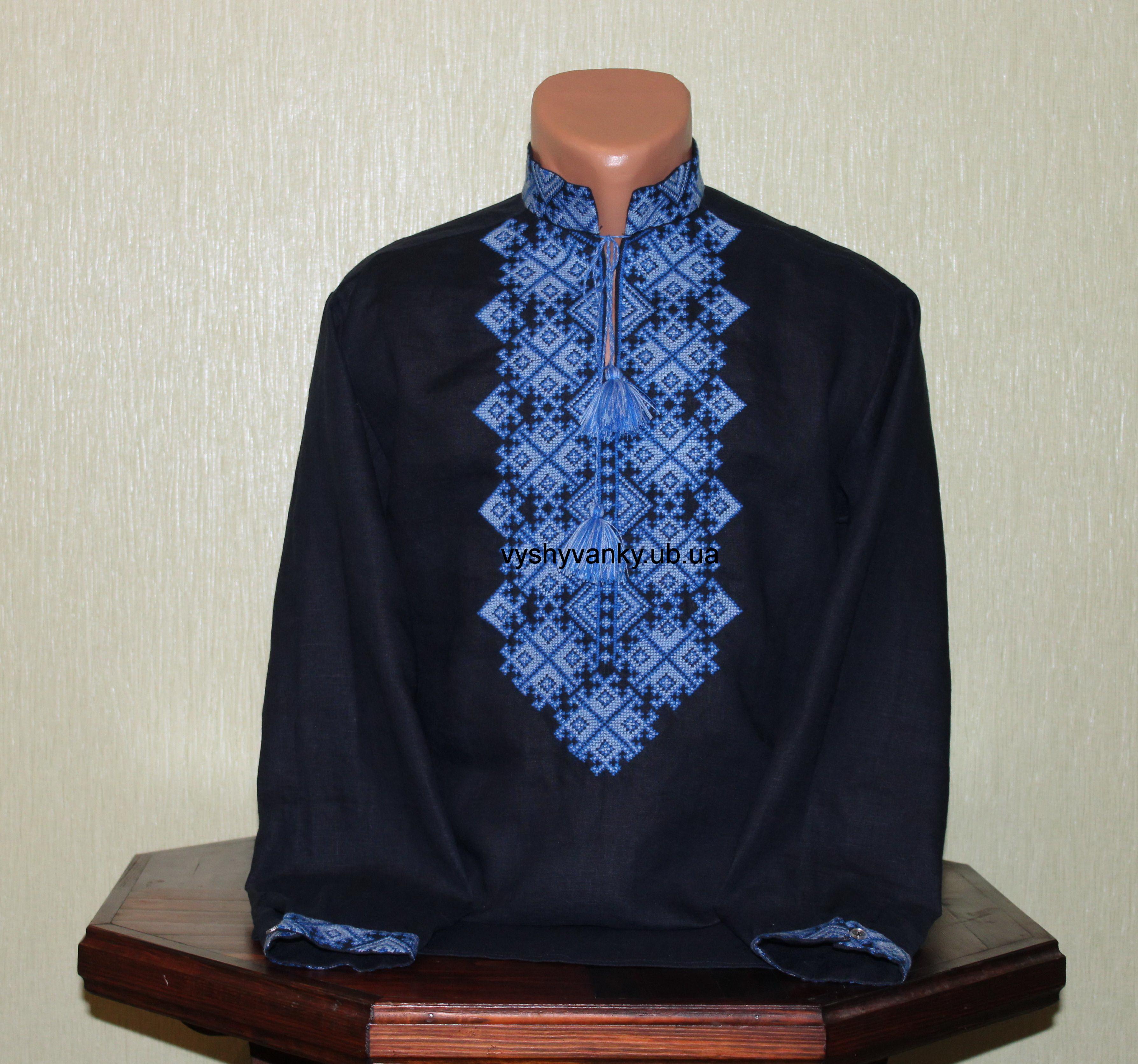 Чоловіча вишиванка на синьому льоні 1fb0673d6ee9f