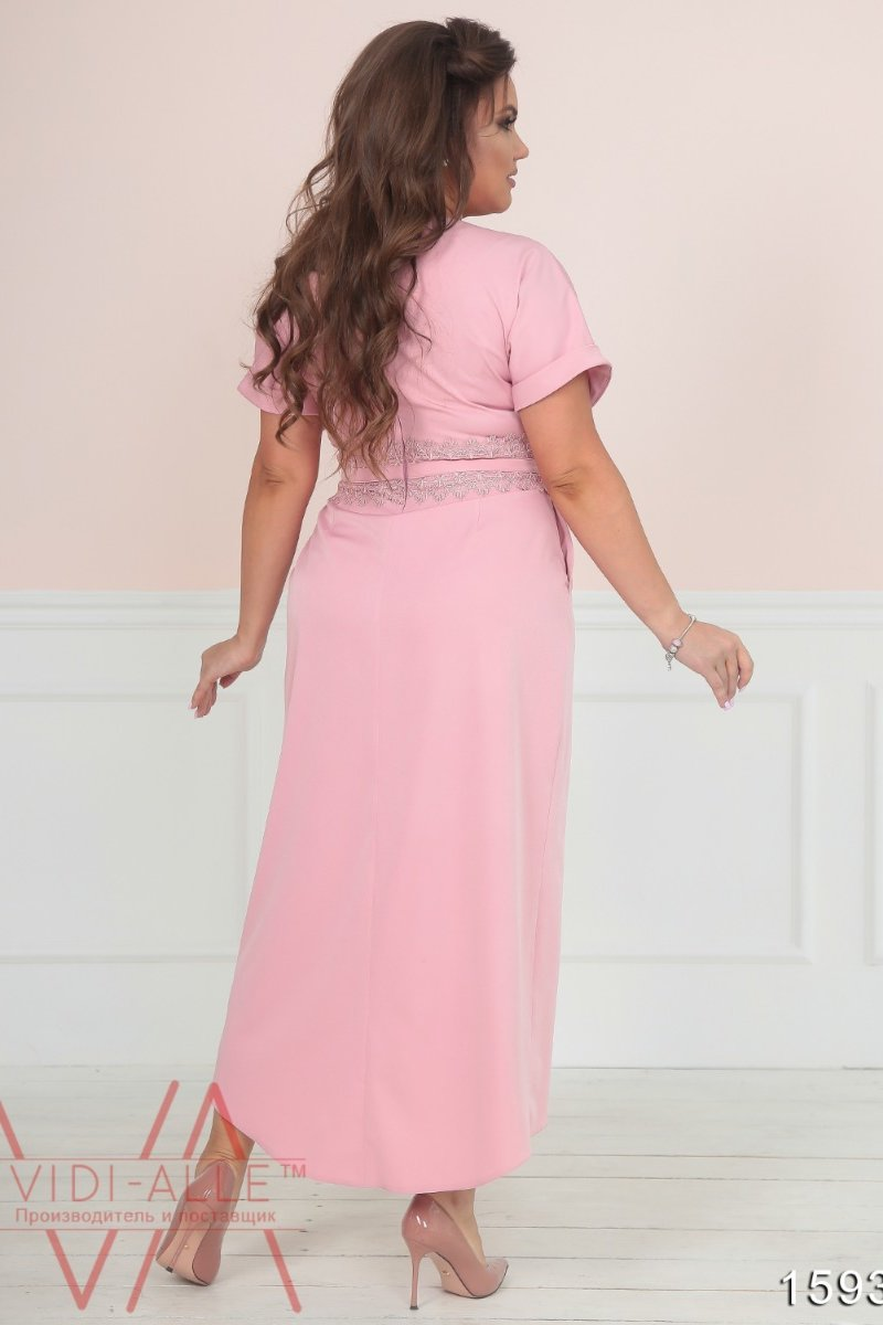 648adfc82b1c Шикарное Платье Макси С Юбкой На Запах (Розовый) 1593 1 - Товары ...