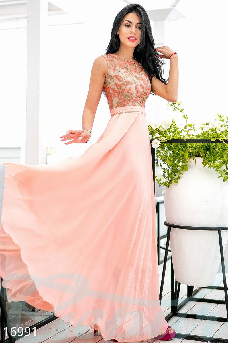 929942714d1 Великолепное длинное платье (персиковый