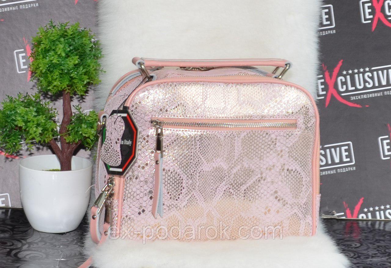 570fb7736a28 Кожаная женская сумка в виде саквояжа с принтом змеи. - Товары ...