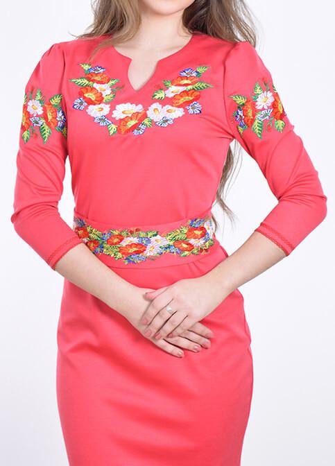 Трикотажна сукня вишиванка коралове ціна 781f52fc26fa2