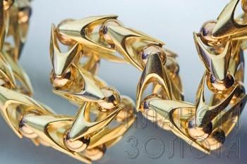 Золотая цепь `Лав`. Ширина 4 мм. Легкая пустотелая цепочка, гибкое и прочное панцирное плетение плюс надежный замок