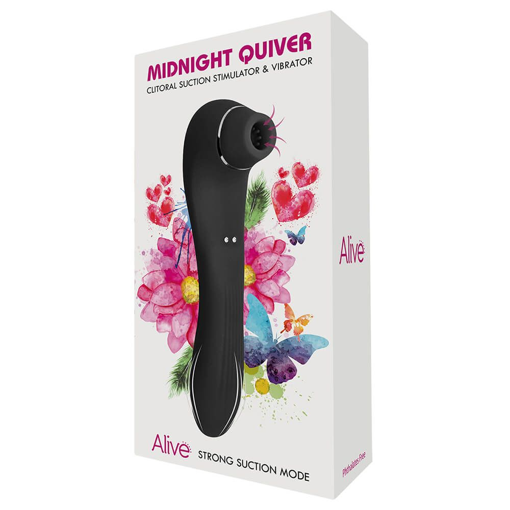 Вибратор и вакуумный стимулятор Alive Midnight Quiver - игрушка 2 в 1 5