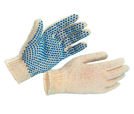 Рабочие перчатки хб с ПВХ купить недорого