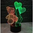 STK Ночник 3д двухцветный. Мишка с шариками