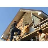 Фасадные работы: машинная штукатурка фасада здания в Киеве и Киевской области