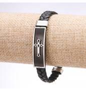 Браслет чоловічий Хрест екошкіра косичка сталева планка