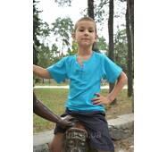 Детская бирюзовая футболка для мальчиков застежка-кнопка 122, S