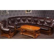 Кожаный уголок Лорд с креслом и журнальным столом массив ясеня