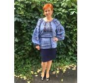 Современная вышиванка женская на джинс-льне