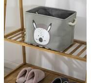 Кошик для іграшок прямокутний сірий Забавний зайчик
