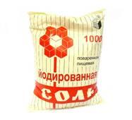 Пищевая каменная йодированная соль фас. в п/э пакеты по 1кг (мешок 25 кг), Артемсоль
