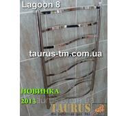 Полотенцесушитель Lagoon 8/500 для ванной комнаты; перемычка прямоугольная 20х10 изогнута волной