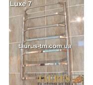 Современный н/ж полотенцесушитель Luxe 7/750x500. Перемычки из плоских труб 20х10 трапецией. Круглая стойка