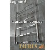 Неширокий н/ж полотенцесушитель Lagoon 6 / 650х450 из фигурных прямоугольных перемычек 20х10. Гнутые волной.