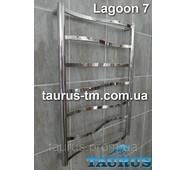 Узкий дизайнерский полотенцесушитель Lagoon 7/750х400 из нержавеющей стали с перемычками 20х10 в виде волны.