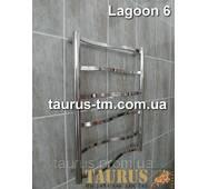 Узкий, небольшой полотенцесушитель Lagoon 6/650х400 из фигурных перемычек. Трубы 20х10 и d32. Полировка