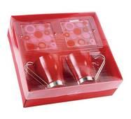 Красные чашки с металлической ручкой арт. PGO827301