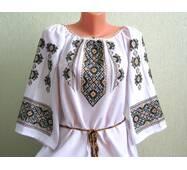 сорочка жіноча вишита орнаментом оливкового кольору