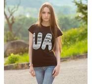 """Женская патриотическая футболка """"UA"""""""