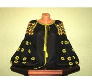 Жіноча вишиванка на чорному льоні з жовтим візерунком ручної роботи