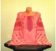 Женская вышиванка ручной работы на льне коралового цвета