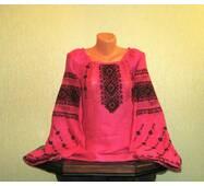 Женская вышиванка ручной работы на льне розового цвета