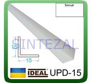 Декоративний пластиковий куточок IDEAL, L - 2,7 м. 15 х 15, Білий