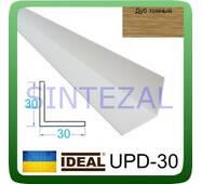 Декоративний пластиковий куточок IDEAL, L - 2,7 м. 30 х 30, Дуб темний