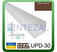 Декоративний пластиковий куточок IDEAL, L - 2,7 м. 30 х 30, Горіх темний