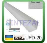 Декоративний пластиковий куточок IDEAL, L - 2,7 м. 20 х 20, Ясен сірий
