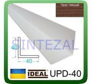 Декоративний пластиковий куточок IDEAL, L - 2,7 м. 40 х 40, Горіх темний