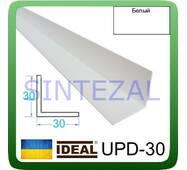 Декоративний пластиковий куточок IDEAL, L - 2,7 м. 30 х 30, Білий