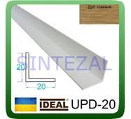 Декоративний пластиковий куточок IDEAL, L - 2,7 м. 20 х 20, Дуб темний