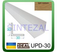 Декоративний пластиковий куточок IDEAL, L - 2,7 м. 40 х 40, Дуб темний