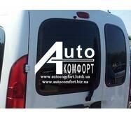 Заднее стекло (распашонка левая) без э. о. без шелкографии под уплотнитель на Renault Kangoo 96-08 (Рено Кангу)