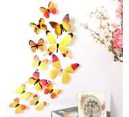 Яскраві 3d метеликів на стіну. Жовті.