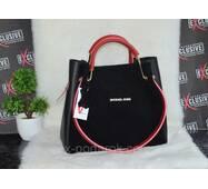 Замшевая сумка Michael Kors 2 в 1 с красными ручками.