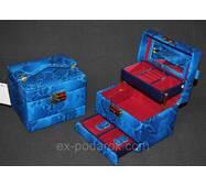 Голубая шкатулка сейф для украшений и ювелирных изделий.
