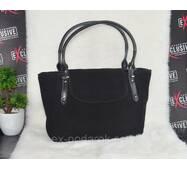 Шикарная женская кожаная сумка с натуральной замшей.