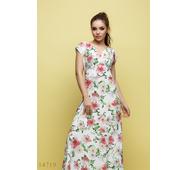 Женское длинное платье Амабель белый принт цветы