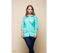 Женская рубашка 15077 ментоловый