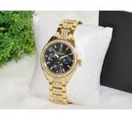 Жіночий годинник Ролекс ( Rolex ) стрази золоті з чорним циферблатом.