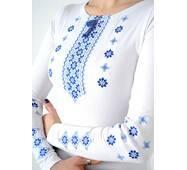 Белая вышиванка с синим орнаментом