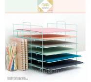 Стелаж органайзер для хранения скрап бумаги 30х30см Crate Paper Desktop Storage Paper Rack