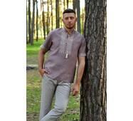 Льняная рубашка с вышивкой для стильного мужчины Модель: М08к-286