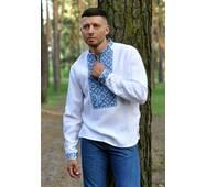 Современная рубашка-оберег из льна с выразительной вышивкой Модель: М19/2-213