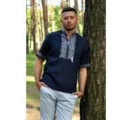 Вышитая мужская рубашка с коротким рукавом из синего льна Модель: М08к-291