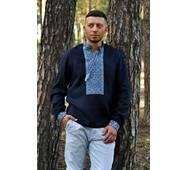 Мужская рубашка из льна глубокого синего оттенка с выразительной вышивкой Модель: М07/1-293
